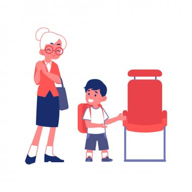 Polite boy gives way to an elderly woman flat vector Illustration isolated.