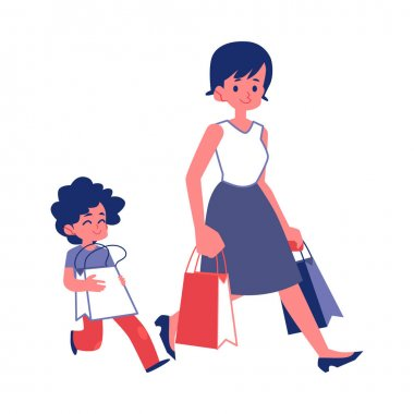 Polite child with good manners helping a woman flat vector isolated on white.