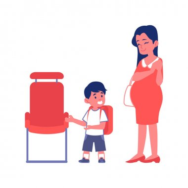 Polite boy and a pregnant woman flat vector Illustration isolated on a white.
