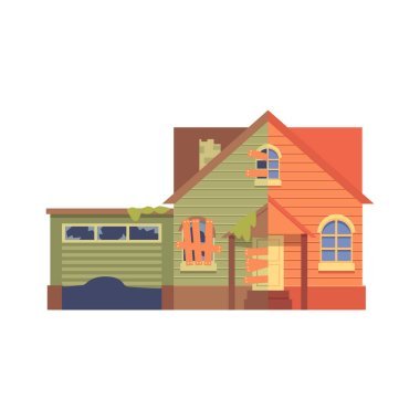 Home renovation with a garage flat cartoon style, before and after.