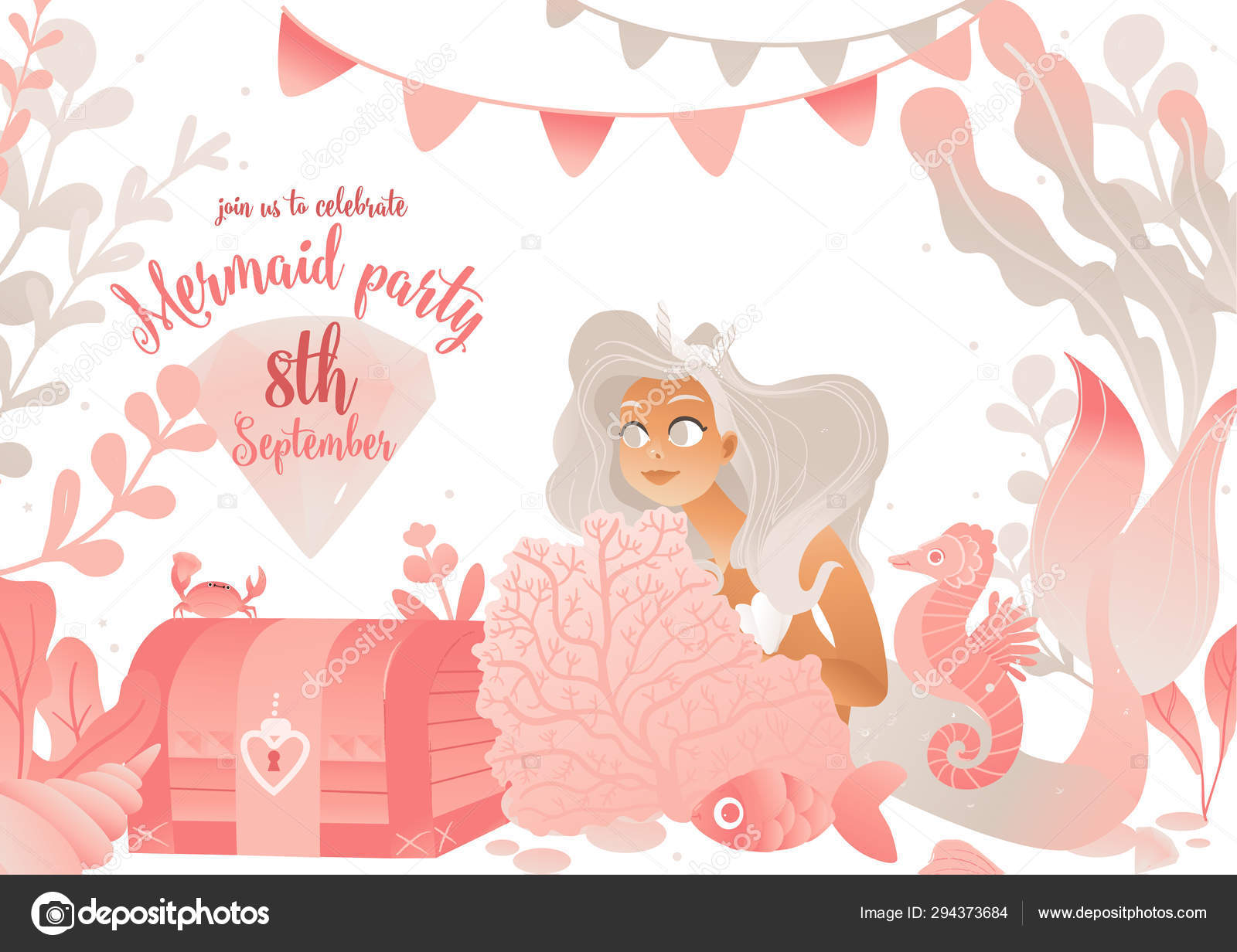Mermaid Party Invitation Card Template With Cute Sea