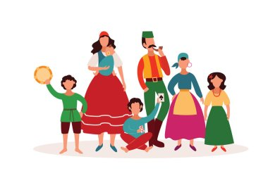 Gypsy people - isolated cartoon character family in traditional clothes and Romany culture artefacts