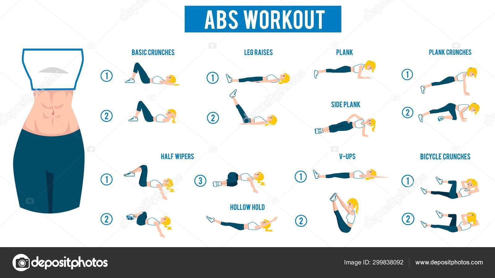 Abs workout with kinds of abdominal training flat vector