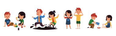 Good manners and bad kids behavior set of flat vector illustrations isolated.