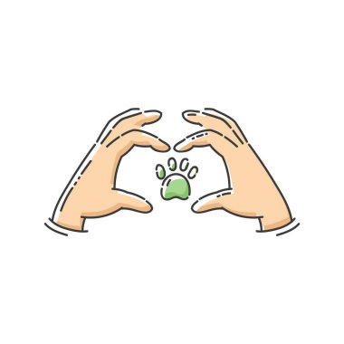Homeless animals help icon for volunteering and charity community the protecting hands and dogs paw symbol the cartoon sketch illustration isolated on white background. clip art vector