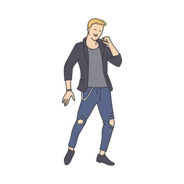 Young man in jeans character in sketch style, cartoon vector illustration isolated.