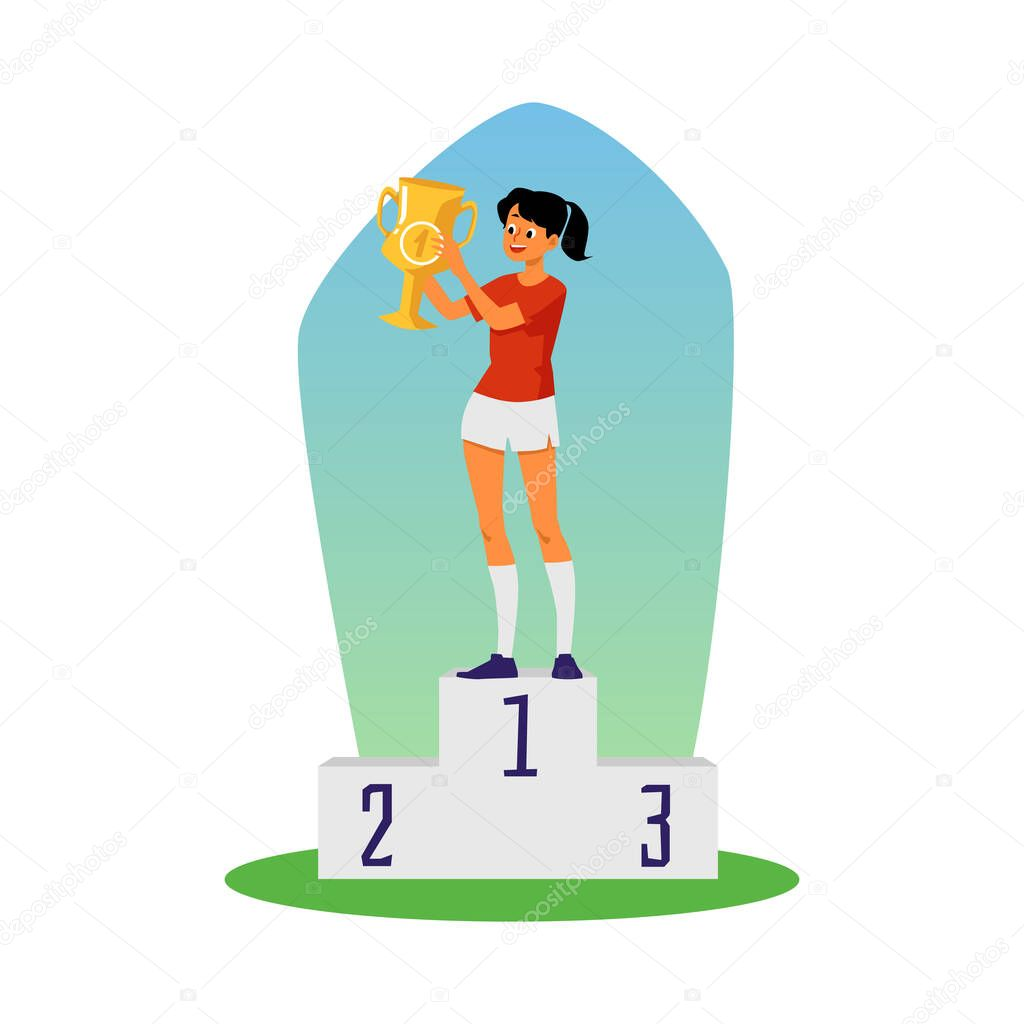 ✓ Sportive athletic girl cartoon character standing on pedestal with trophy winners gold cup in hands, flat vector illustration isolated on white background. premium vector in Adobe Illustrator ai ( .ai )