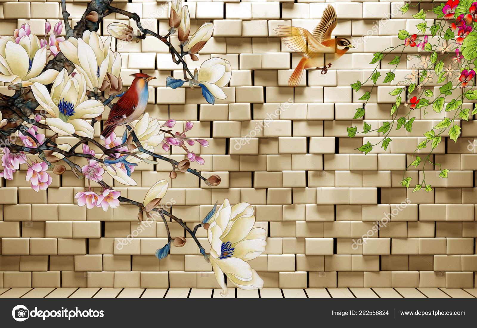 Illustration Background White Brick Wall Warm Illumination Birds Fabulous Flowers Stock Photo Image By Timkats 222556824