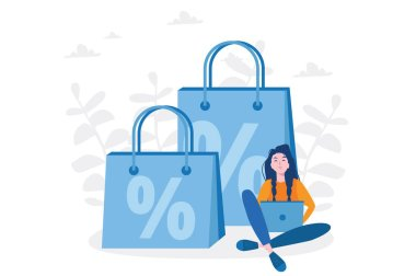 Big sale % Discount, online shopping,  woman with Shopping Bags, Vector illustration for web banner, infographics, mobile.