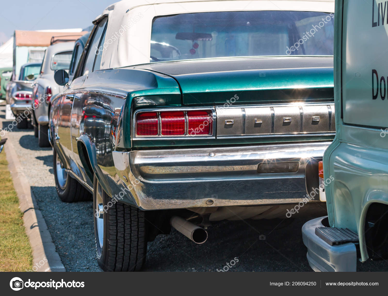 Back Vintage American Muscle Car Stock Editorial Photo