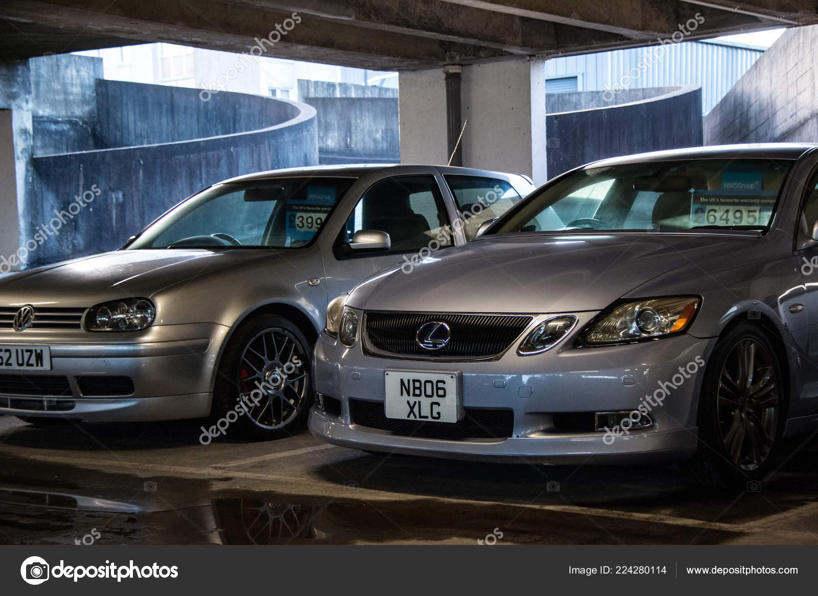 Couple Silver Cars Sale Parked Dark Gloomy Car Park Stock Editorial Photo C Tobyparsons 224280114