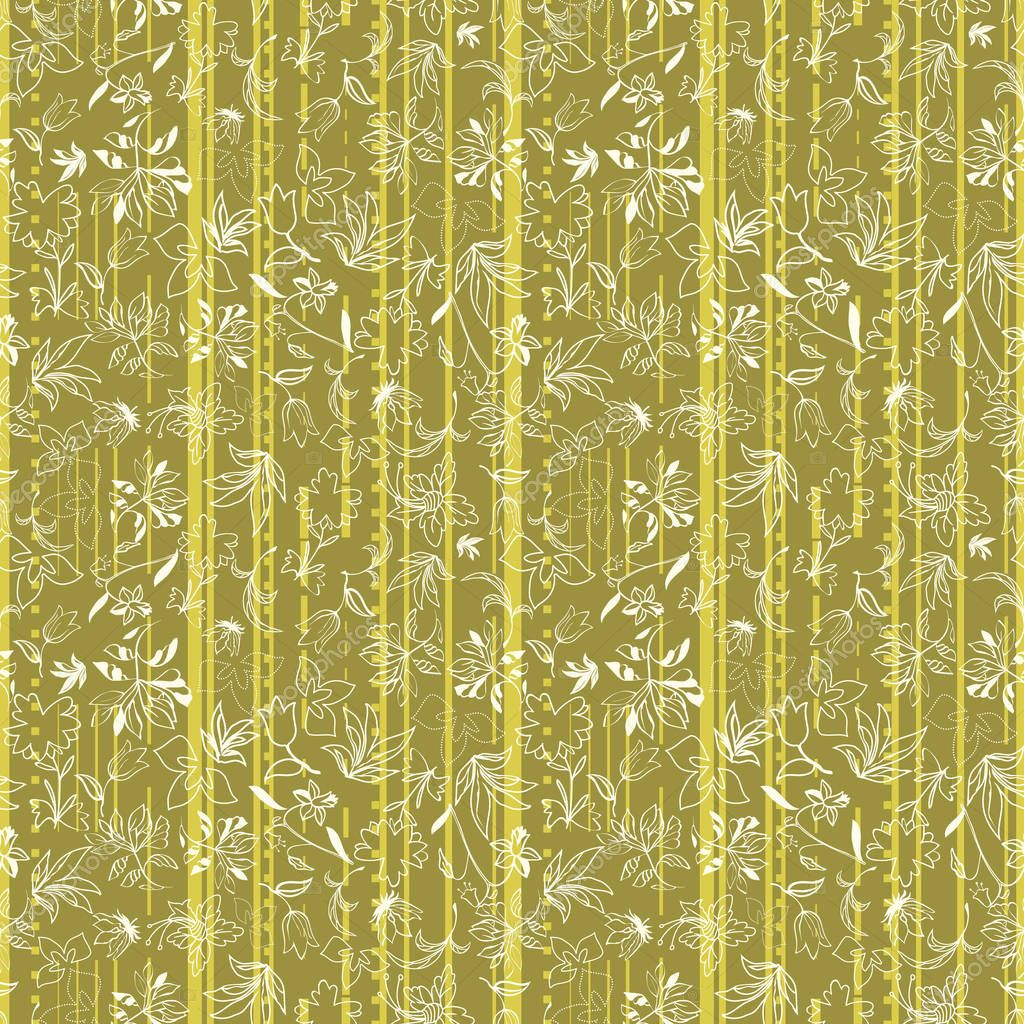 Vector illustration of stylized vertical stripes layered with abstract florals.