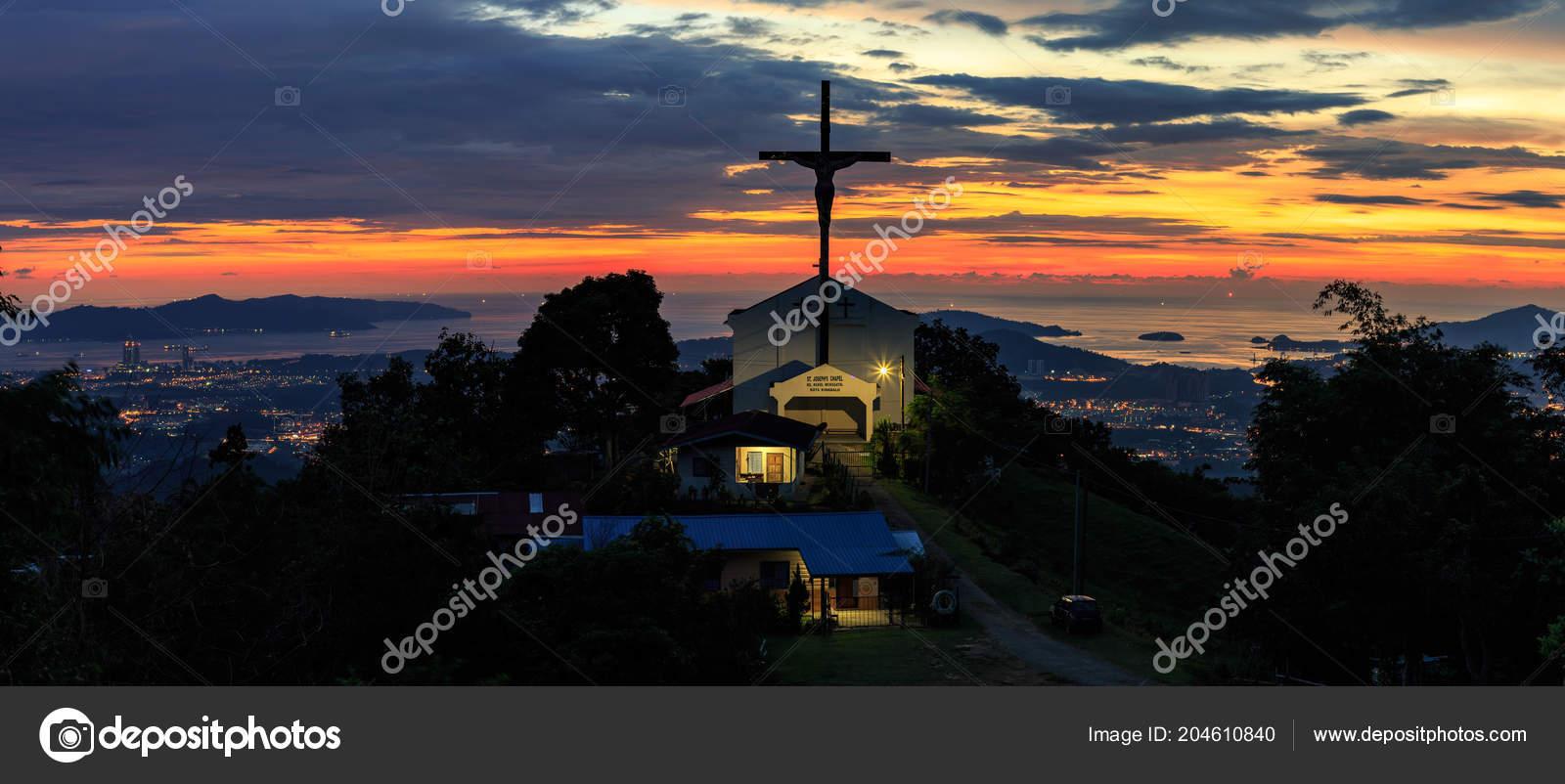 Beautiful Sunset Jesus Cross Stock Photo C Alenthien 204610840