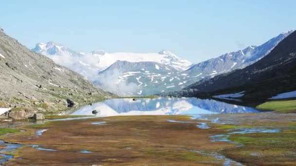 Mountain peaks and glacier reflection on high altitude alpine lake. Alps, Andes, Himalaya concept
