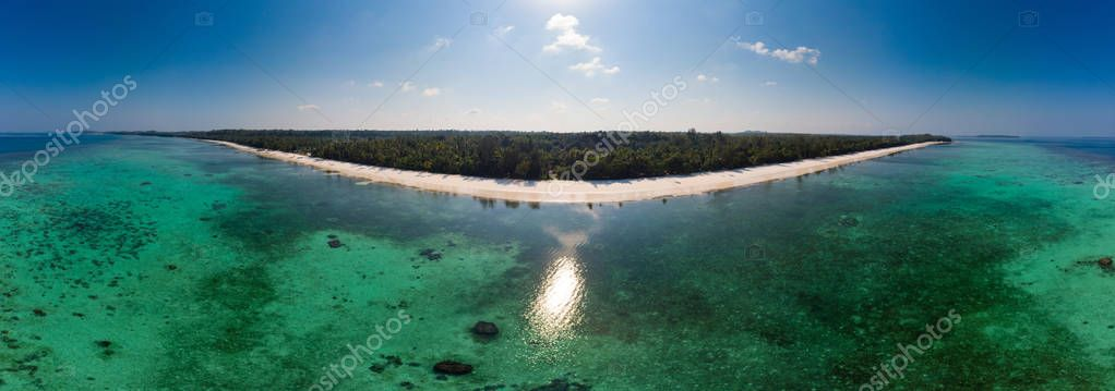 Aerial view tropical beach island reef caribbean sea. Indonesia Moluccas archipelago, Kei Islands, Banda Sea. Top travel destination, best diving snorkeling, stunning panorama.