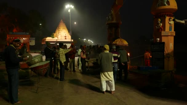 Ujjain, India - December 7, 2017: night religious ceremony on holy river at Ujjain, India, sacred town for Hindu religion.