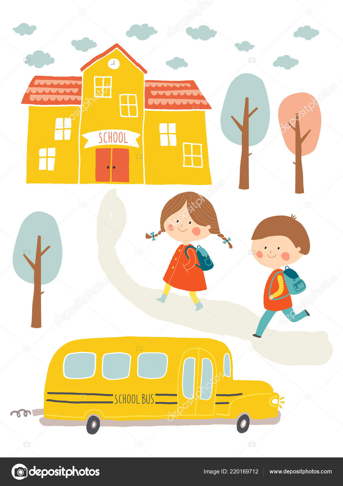 f6e4be2c9f Χαριτωμένο αγόρι και κορίτσι με σχολικό κτίριο και σχολικό λεωφορείο.  Γελοιογραφία clip art eps 10 εικονογράφηση φορέα σε άσπρο φόντο.