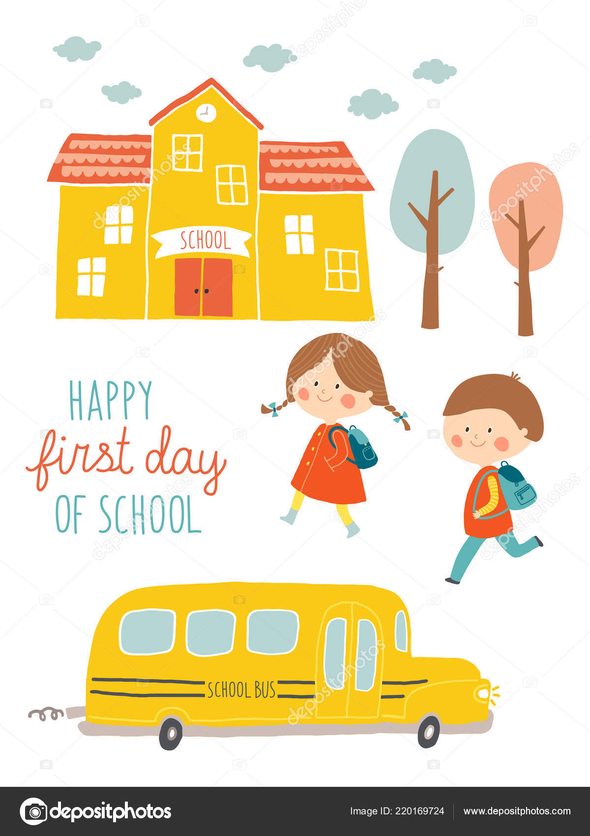 Happy First Day Of School Card Design Kids Going To School Cute
