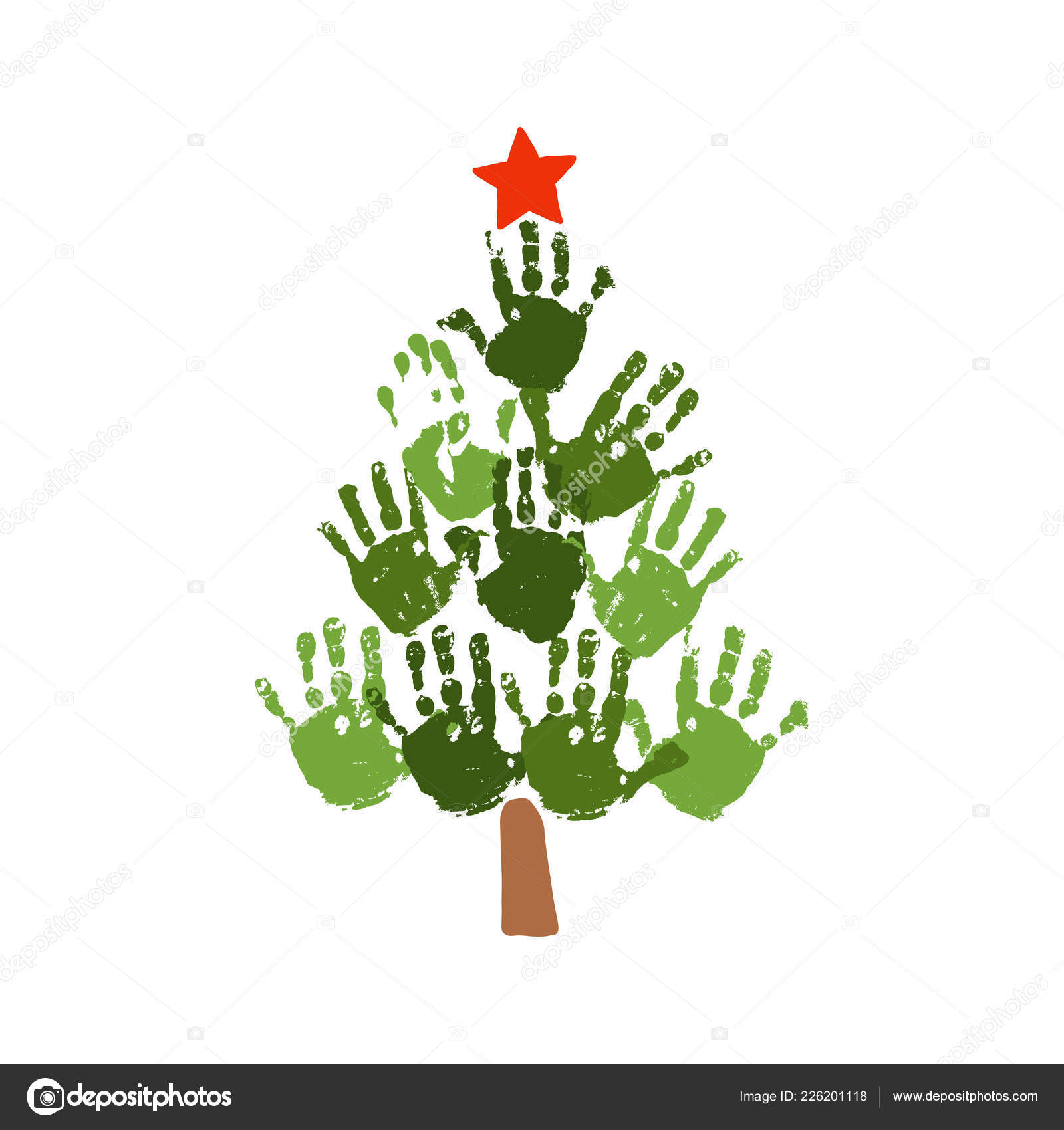 Christmas Tree Of Handprints With Red Star Watercolor Acrylic Kids Christmas Art Children Christmas Crafts Family Christmas Card Design Vector Eps 10 Illustration Isolated On White Vector Image By C