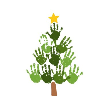 Christmas tree of handprints with yellow star. Watercolor acrylic kids Christmas art. Children Christmas crafts. Family Christmas card design. Vector eps 10 illustration isolated on white .