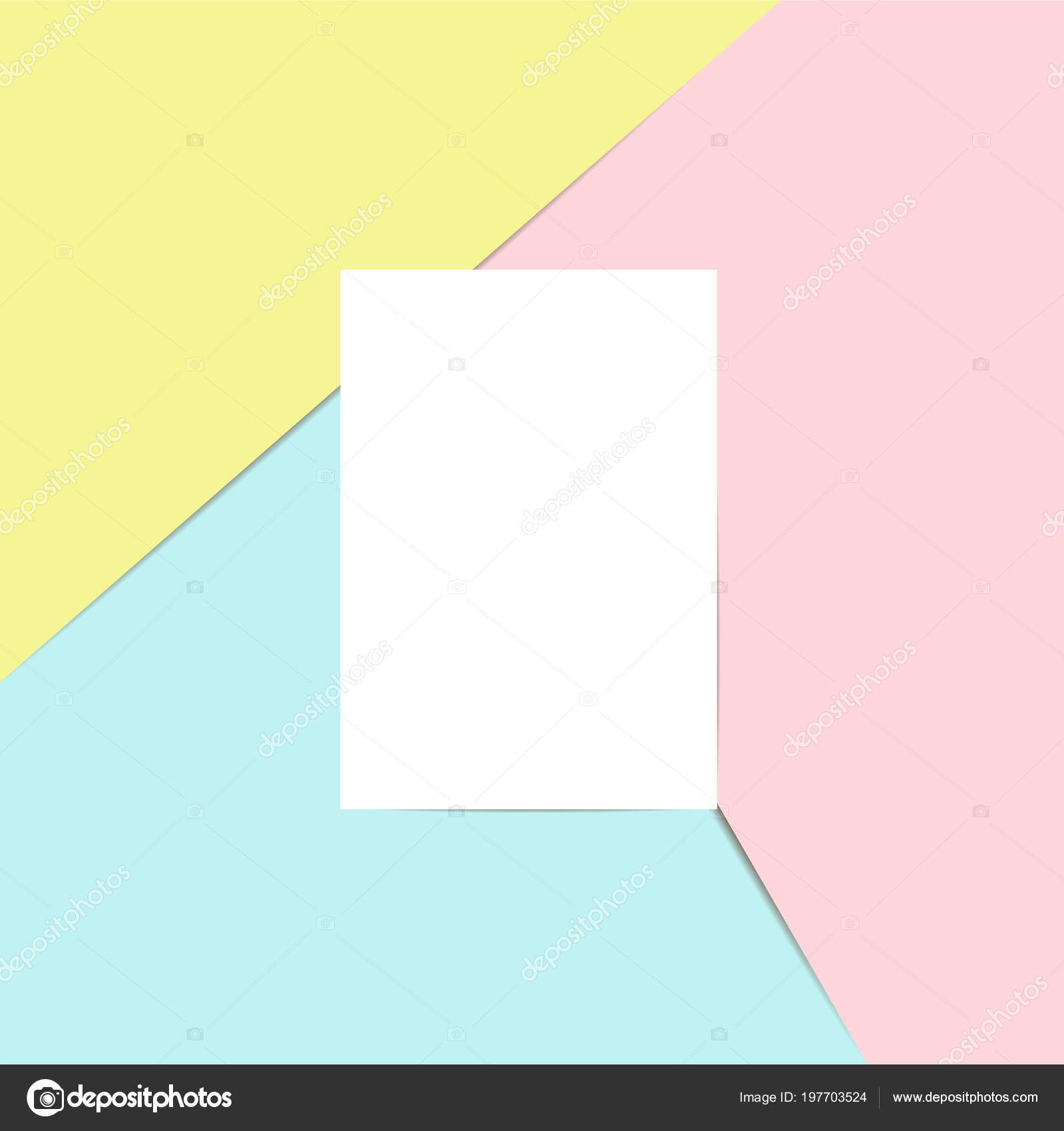Blank Sheet Paper Postcard Template Your Design Pink Blue Yellow ...
