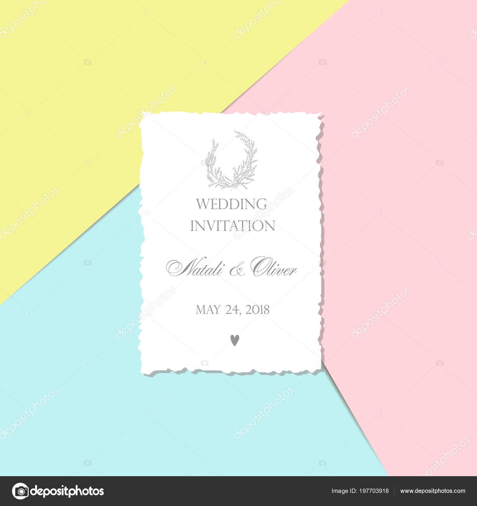 wedding invitation monogram card torn edge pink blue yellow