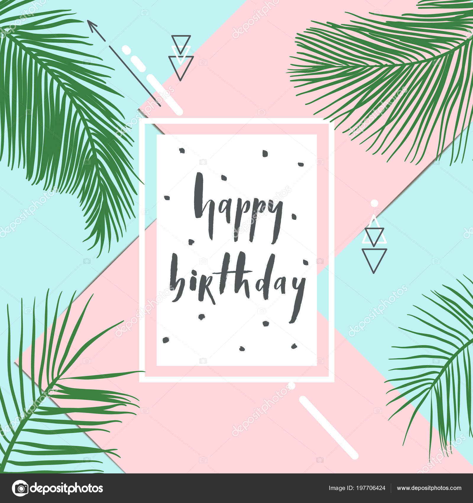 Happy Birthday Summer Tropical Design Exotic Palm Leaves