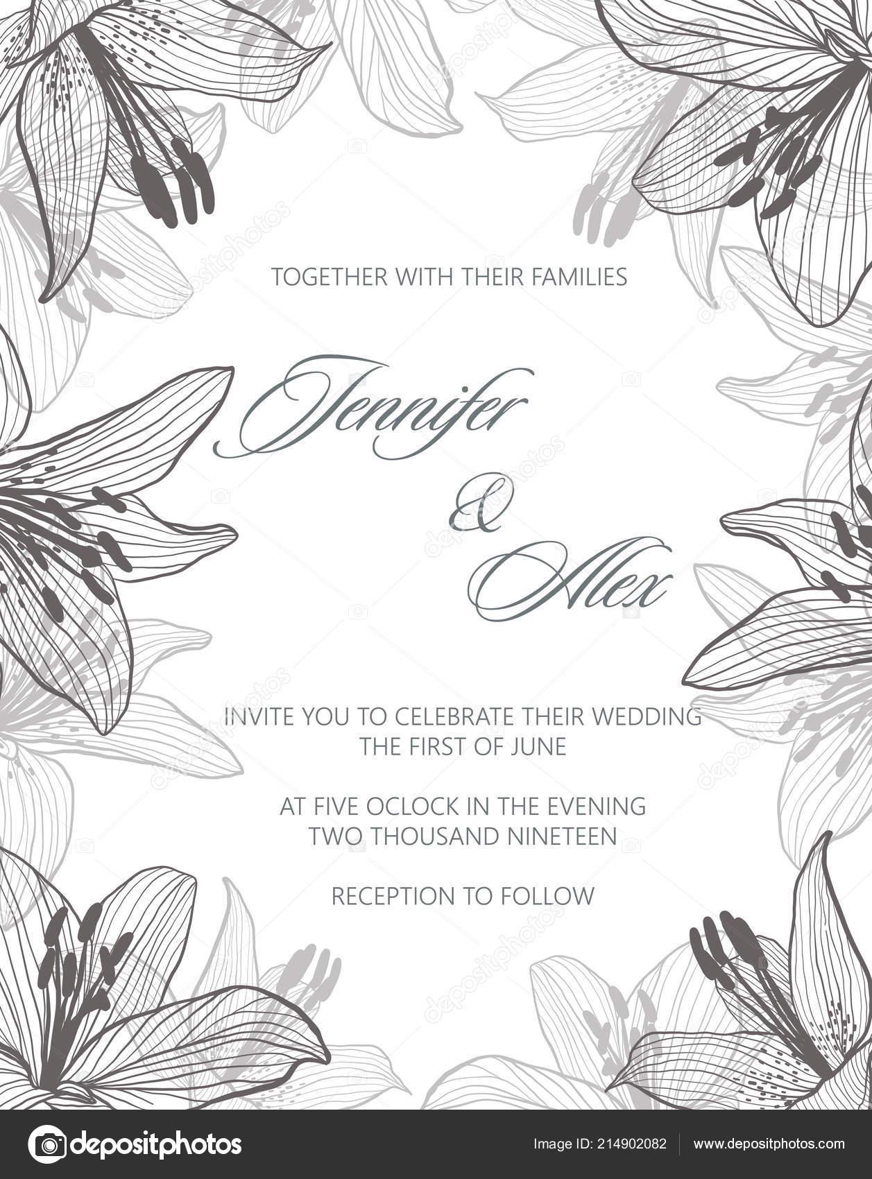 Hochzeit Einladung Muster Mit Blumen Lilien Vektor Stockvektor