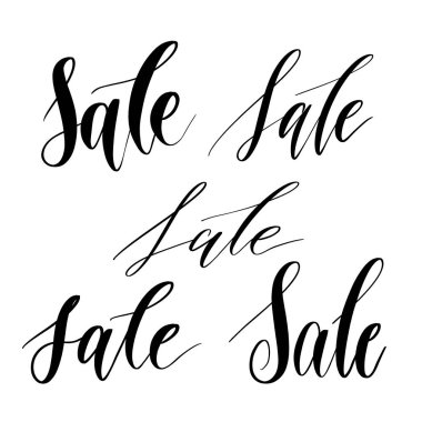 Several options for writing the word Sale -  inscription hand lettering vector.Typography design. Greetings card.