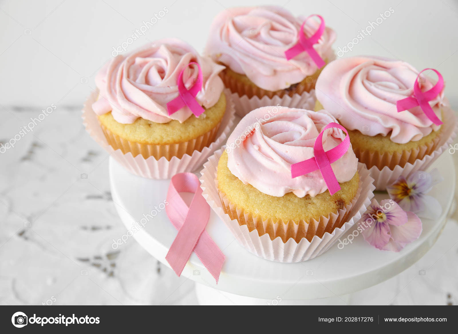 Rose Flower Cupcakes Pink Ribbon Day World Cancer Day Stock Photo