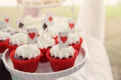 Photo Red velvet cupcakes with playing cards toppers, Alice in wonderland tea party, toning
