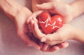 Fotografie adult and child hands holding red heart, health care, organ donation, family insurance concept
