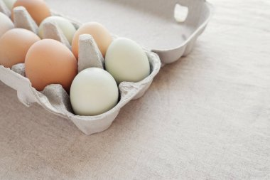 Organic free range eggs in carton box, ketogenic diet. stock vector