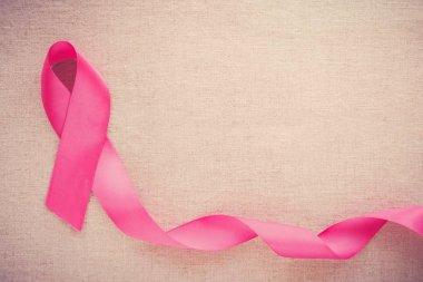 Pink ribbon, October pink breast cancer background