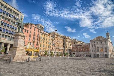 View of Caricamento square, important place near the ancient port (porto antico) of Genoa, Italy