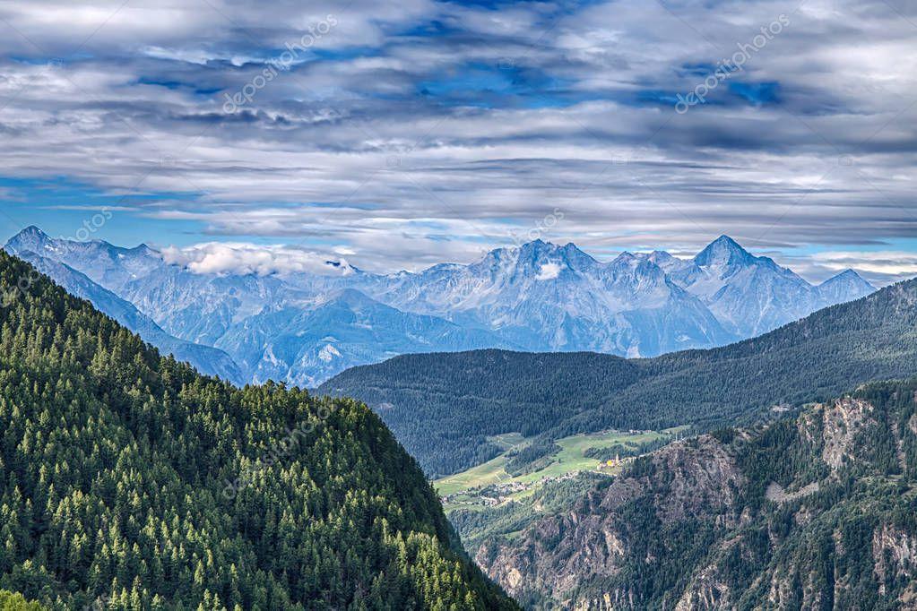 Mountainous landscape of Val D'Aosta, Italy.