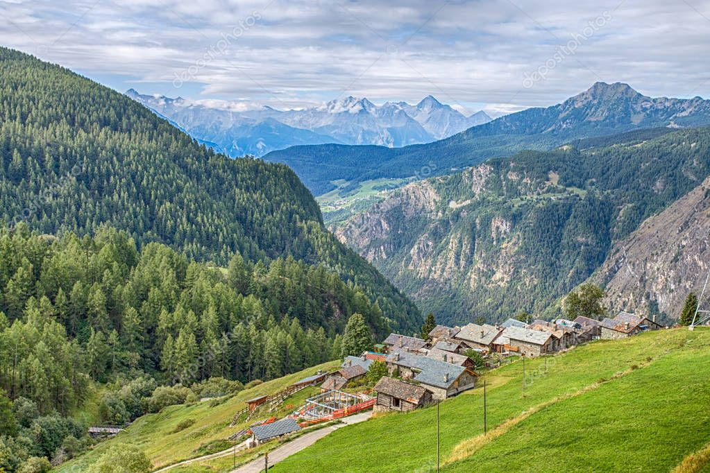 Aerial view of the picturesque village of Chamois, in Val D'Aosta, Italy. Its peculiarity is that cars are not allowed in the village.