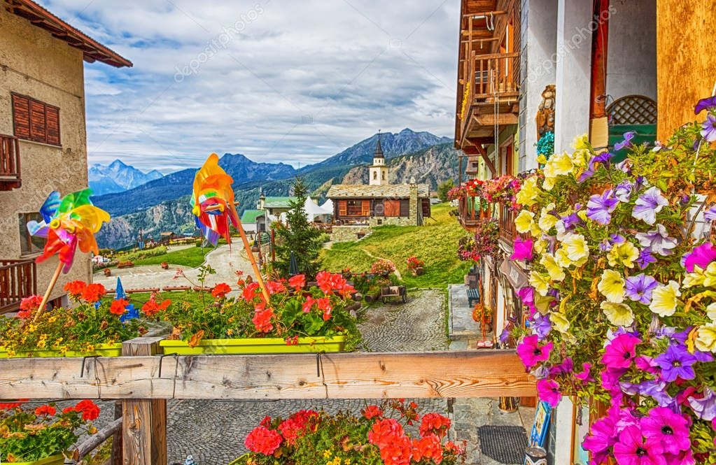 View of the picturesque village of Chamois, in Val D'Aosta, Italy. Its peculiarity is that cars are not allowed in the village.