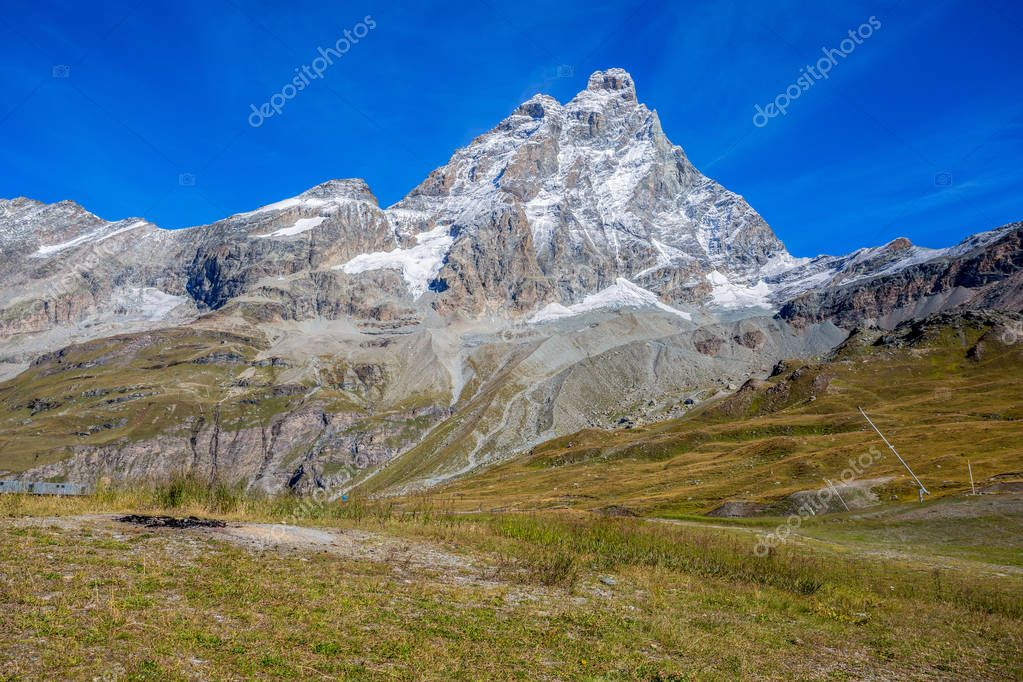 View of Cervino Mount (Matterhorn) from the cableway station of Plan Maison, above the mountain tourist town of Breuil-Cervinia at 2551 mt., in Val D'Aosta,Italy