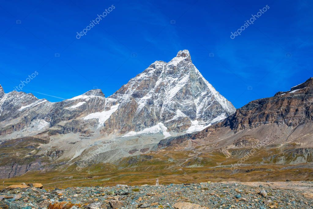 View of Cervino Mount (Matterhorn) from the cableway station of Cime Bianche Laghi 2814 mt., in Val D'Aosta,Italy