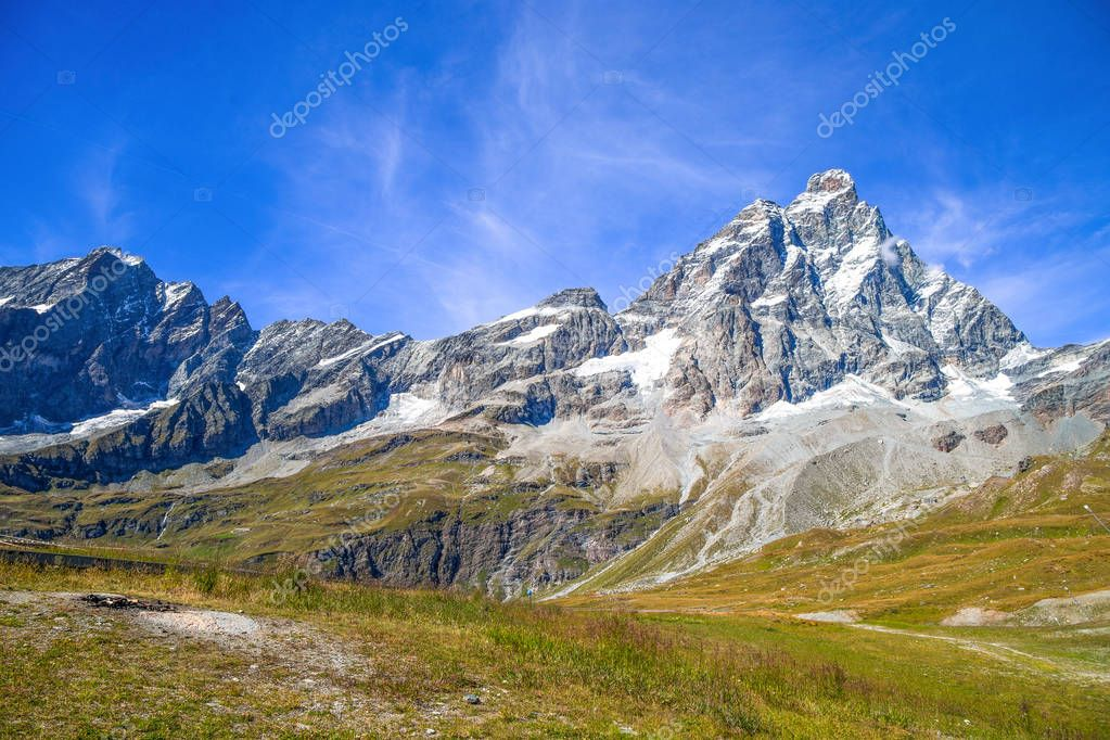 Cervino mount (Matterhorn) seen from Plan Maison, Breuil-Cervinia, Val D'Aosta, Italy.