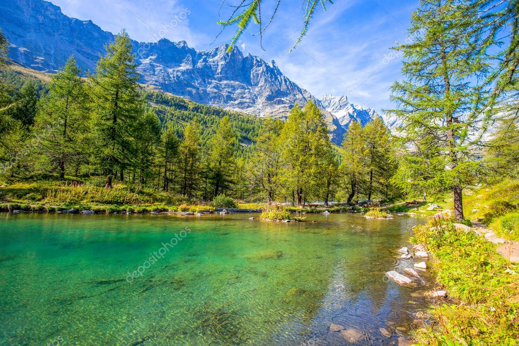 View of the Blue lake (Lago Blu) near Breuil-Cervinia in Val D'Aosta,Italy