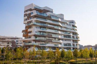 MILAN, ITALY, OCTOBER 13, 2017 - New modern building condo of
