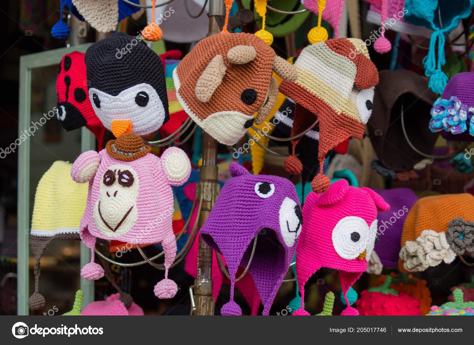 Colorful Funny Hats Sale Jatujak Market Bangkok Thailand – Stock ... 3d0af231492