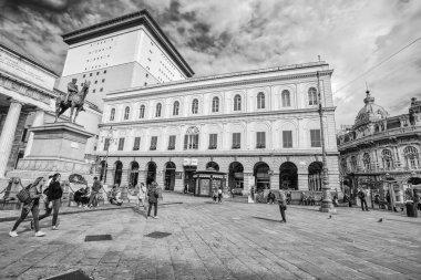 GENOA (GENOVA) ITALY, MAY, 5, 2017 - View of Carlo Felice theater and the Garibaldi Statue in De Ferrari Square in city center of Genoa (Genova), Italy.