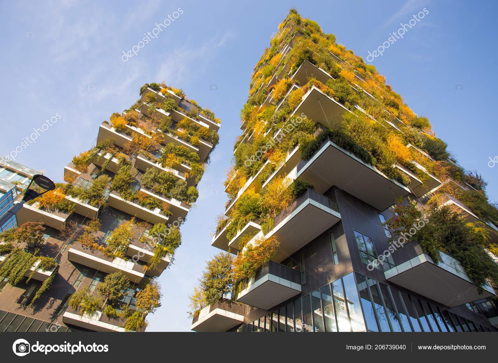 Bosco Verticale Foresta Verticale Tempo Autunno Appartamenti Edifici