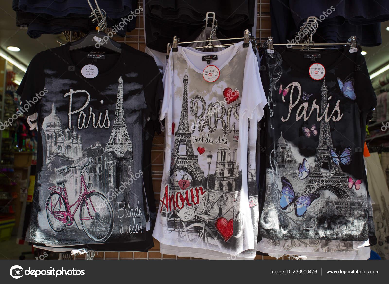 Paris France September 2018 Shirts Paris Logo Sale