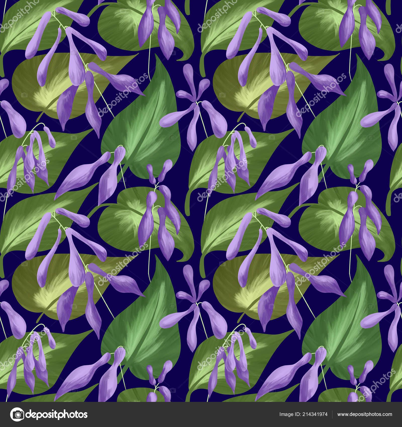 Seamless Pattern Leaves Flowers Hostas Dark Blue Background Digital