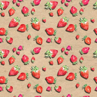 Watercolor seamless pattern with hand drawn fresh juicy fruits