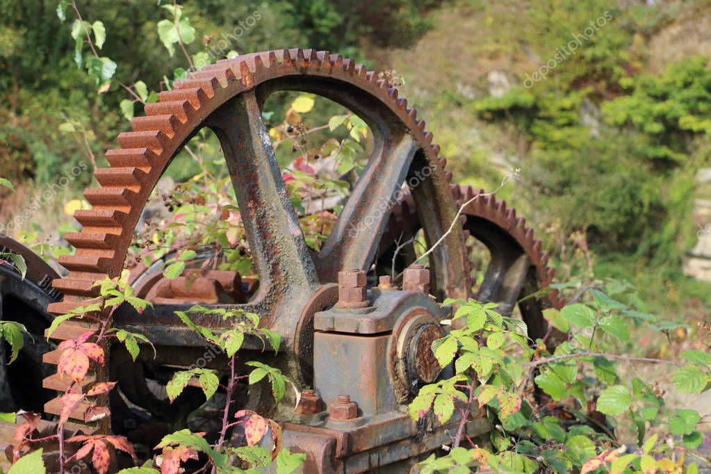 Old mechanical gear in a forest in Belgium ardennes